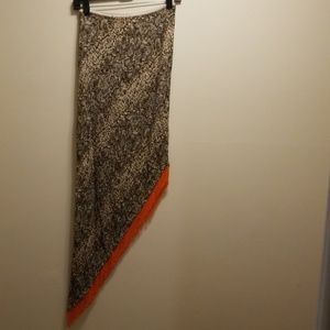 Cache snakeskin slanted skirt orange beaded fringe